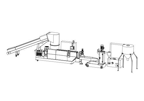 single stage plastic granulating line