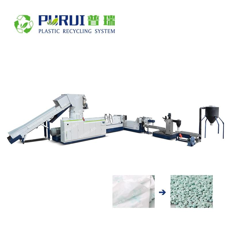 Double Stage HDPE LDPE LLDPE Film Recycling Pelletizing Line