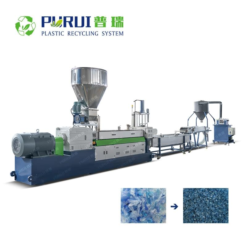 Twin Screw Compounding Extruder / PET Bottle Flakes Granulating Line